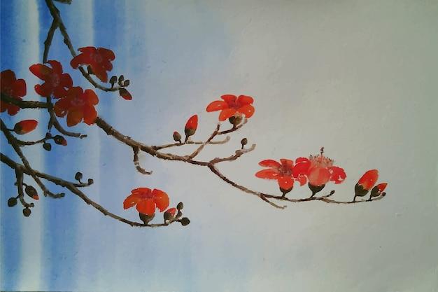 Fond de fleur de krishnacura aquarelle dessiné à la main