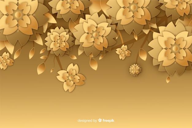 Fond de fleur d'or dans un style 3d