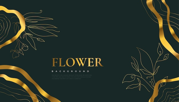Fond de fleur d'or de luxe avec des feuilles d'été tropicales élégantes. fond de nature de luxe avec illustration florale