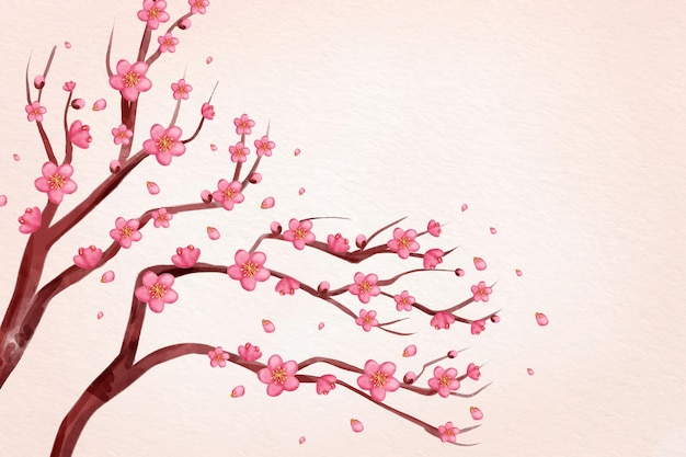 Fond de fleur de prunier rose aquarelle