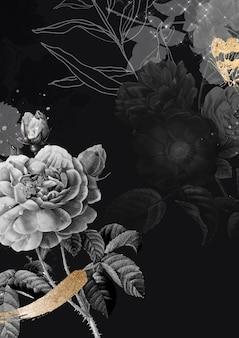 Fond de fleur, vecteur d'affiche esthétique, remixé à partir d'images du domaine public vintage