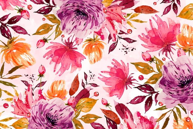 Fond de fleur violette à l'aquarelle douce