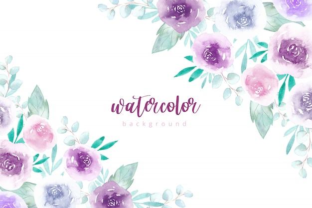 Fond de fleurs aquarelle aux couleurs pastel.