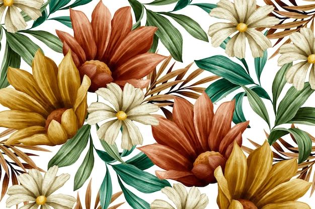 Fond de fleurs aquarelle