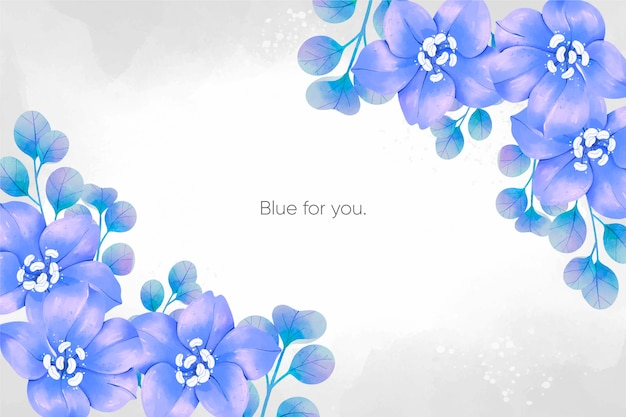 Fond de fleurs bleu printemps aquarelle