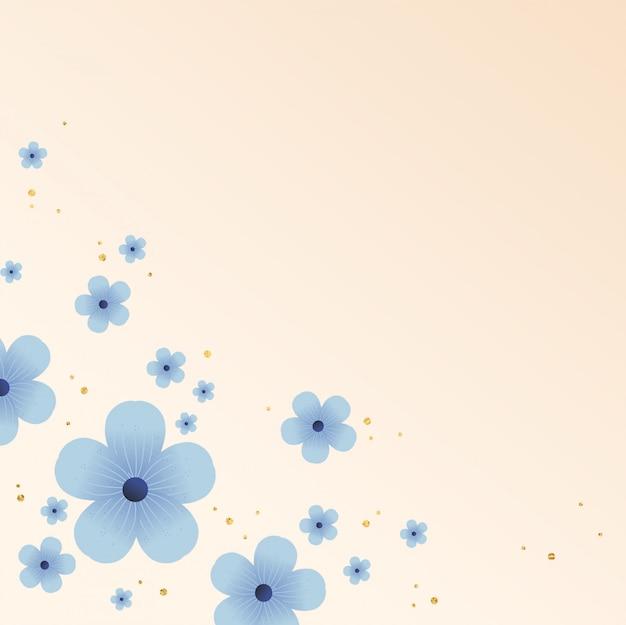Fond de fleurs bleues dessinées à la main