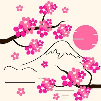 Fond de fleurs de cerisier fleurs de sakura rose sur une illustration vectorielle plane de branche