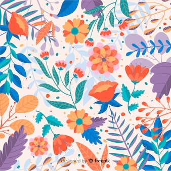 Fond de fleurs colorées dessinées à la main