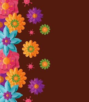 Fond avec des fleurs colorées