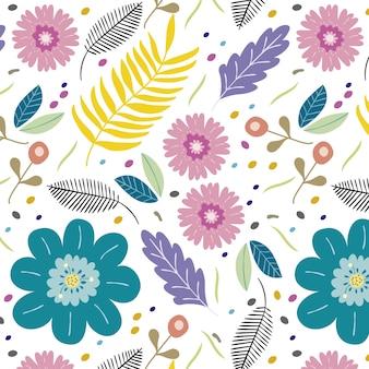 Fond de fleurs et feuilles de beaucoup de belles couleurs