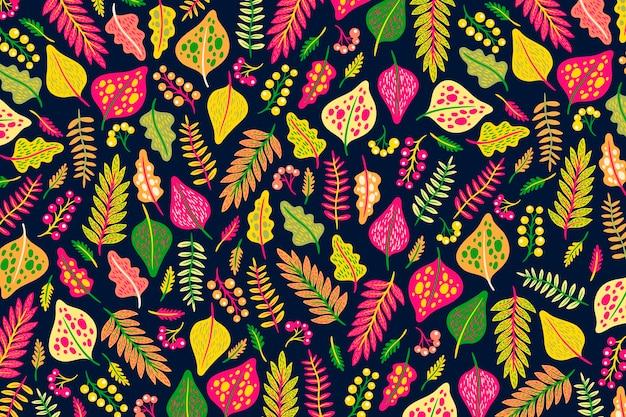 Fond de fleurs et feuilles colorées