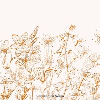 Fond de fleurs et de feuilles dessinées à la main