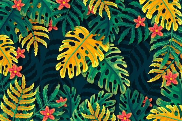 Fond de fleurs et de feuilles tropicales pour zoomer