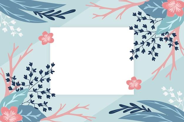 Fond de fleurs d'hiver avec badge vide