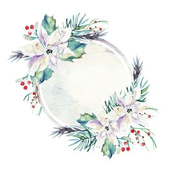 Fond de fleurs d'hiver coloré avec badge vide