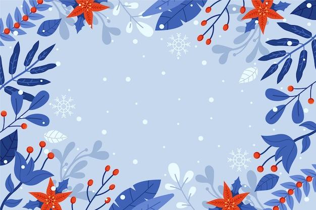 Fond de fleurs d'hiver design plat avec un espace vide