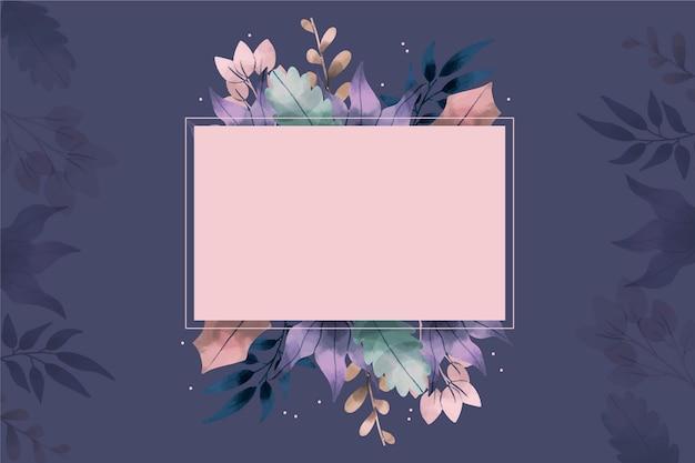 Fond de fleurs d'hiver dessinés à la main avec badge vide