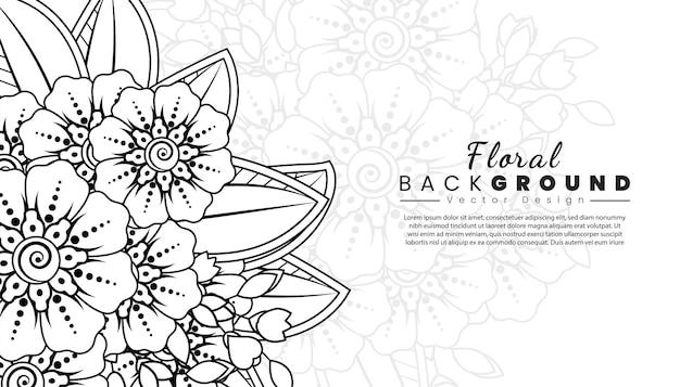 Fond avec des fleurs de mehndi lignes noires sur fond blanc livre de coloriage bannière ou carte