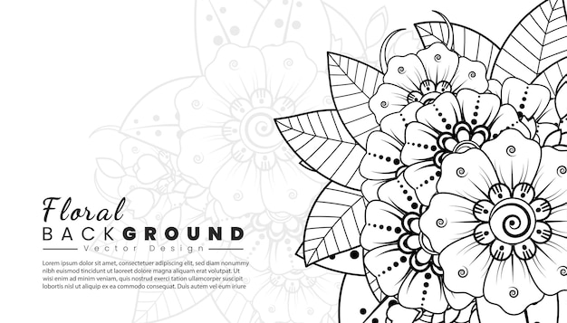 Fond avec des fleurs de mehndi lignes noires sur fond blanc modèle de bannière ou de carte