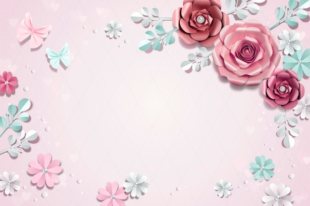 Fond de fleurs en papier romantique en illustration 3d