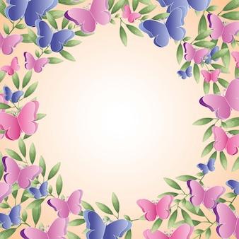 Fond de fleurs et papillons