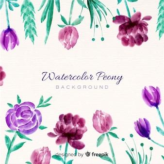 Fond de fleurs de pivoine élégant dans un style aquarelle