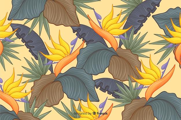 Fond de fleurs tropicales dessinés à la main