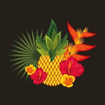 Fond de fleurs tropicales noires