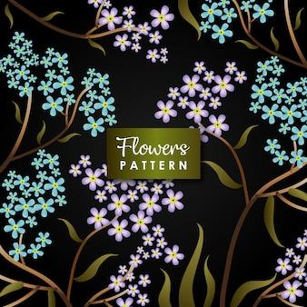 Fond de fleurs violet vert foncé