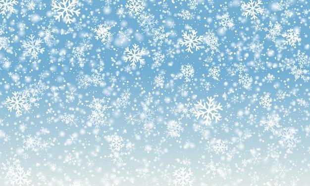 Fond de flocon de neige. chute de neige. illustration vectorielle. ciel de neige. fond d'hiver de noël.