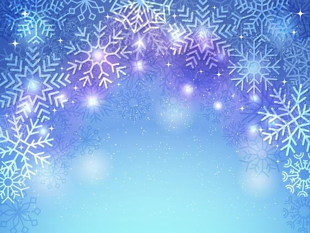 Fond de flocons de neige. décoration de carte de voeux de noël vacances cadre bleu et blanc de célébration du nouvel an de neige