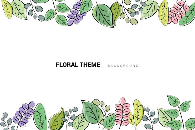Fond floral abstrait dessiné à la main