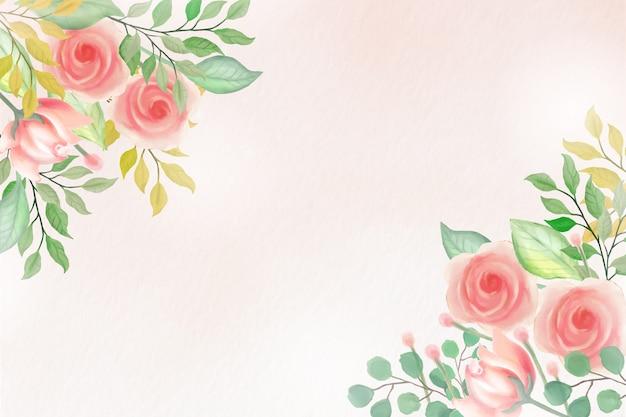 Fond floral aquarelle avec des couleurs douces