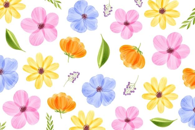 Fond floral aquarelle avec des couleurs pastel