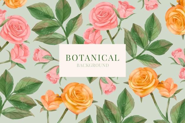 Fond floral aquarelle dessiné à la main