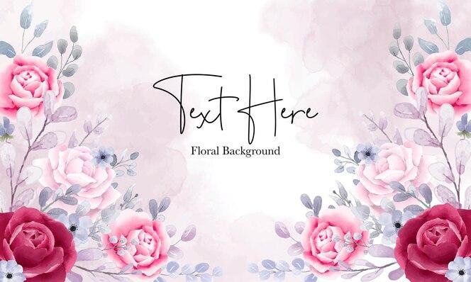 Fond floral aquarelle élégant avec de beaux ornements floraux