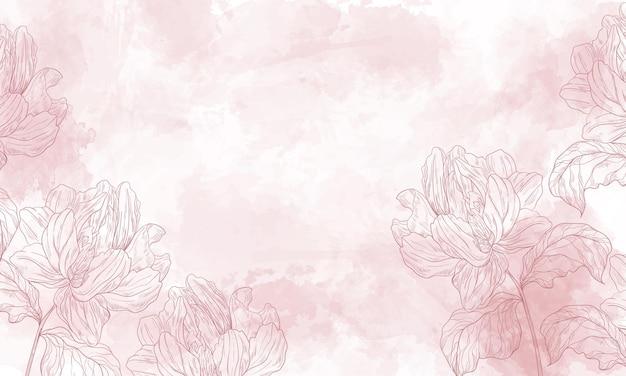 Fond floral aquarelle avec des éléments de fleurs dessinés à la main