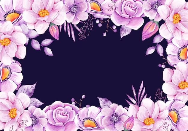 Fond floral aquarelle avec fleurs roses