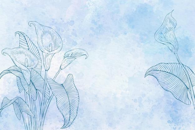 Fond floral aquarelle en monochrome