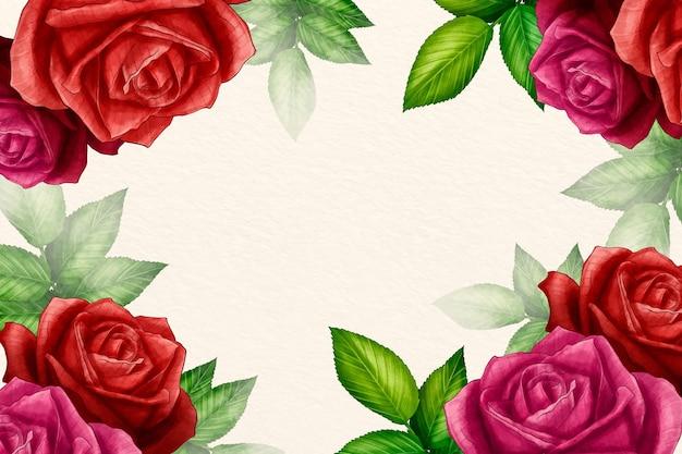Fond floral aquarelle avec des roses