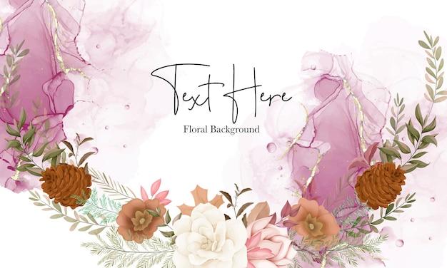 Fond floral automne élégant avec fleur de rose et de pin