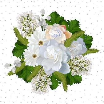 Fond floral avec de belles fleurs blanches réalistes