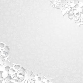 Fond floral blanc avec des fleurs blanches découpées dans du papier