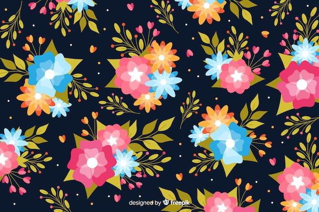 Fond floral bleu au design plat