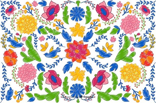 Fond floral de broderie colorée