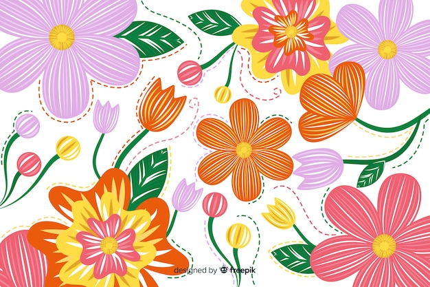 Fond floral de broderie dessiné à la main
