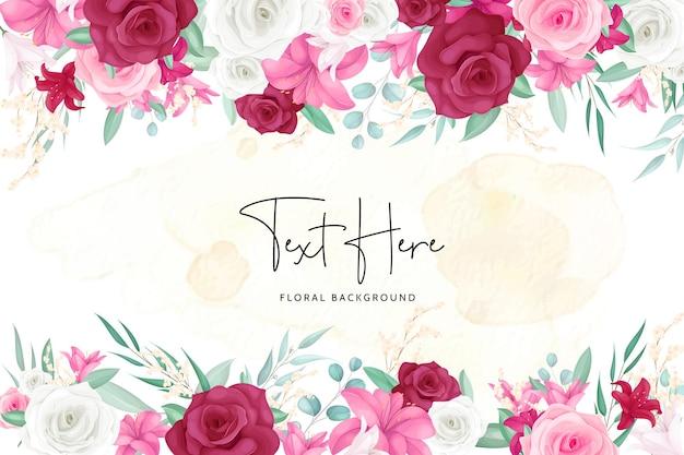 Fond floral avec cadre de belle fleur dessiné à la main