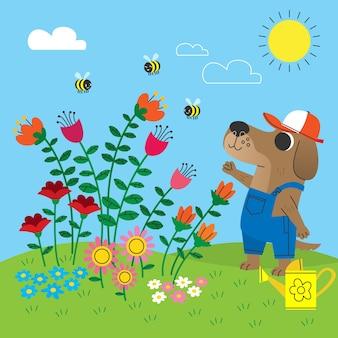Fond floral avec un chien mignon