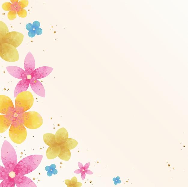 Fond floral coloré avec un accent doré