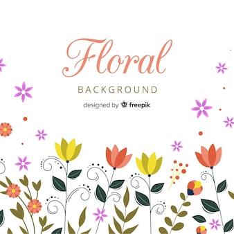 Fond floral coloré avec design plat